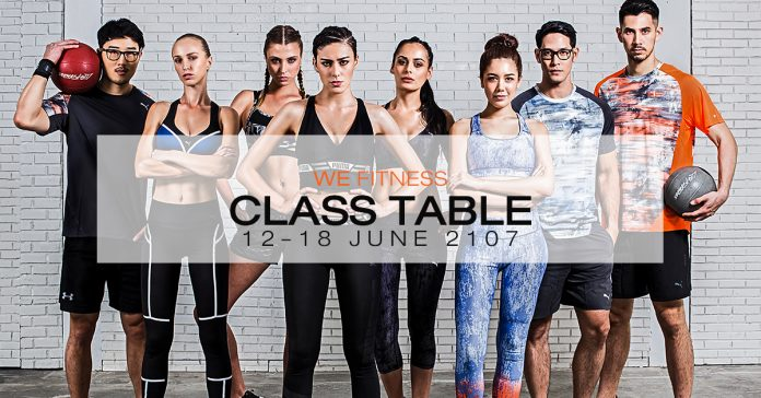 WE Fitness Class table 12-18 June